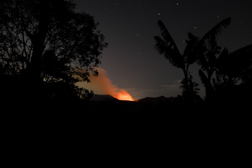 Active Volcan Masaya at night from La Mariposa Escuela de Espanol