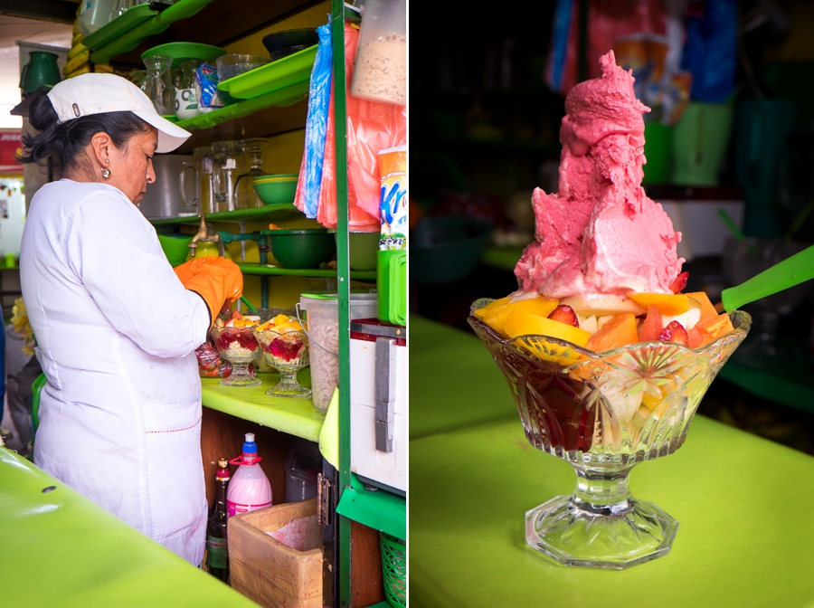 Fruit salad and icecream - Bolivian Food