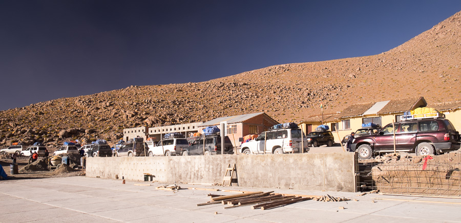 Polques hot springs parking lot - Eduardo Avaroa Nature Reserve - Bolivia