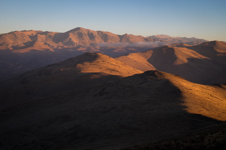 Sunset view to Cerro Vizcachas from road to the SEST - La Silla Observatory - Chile