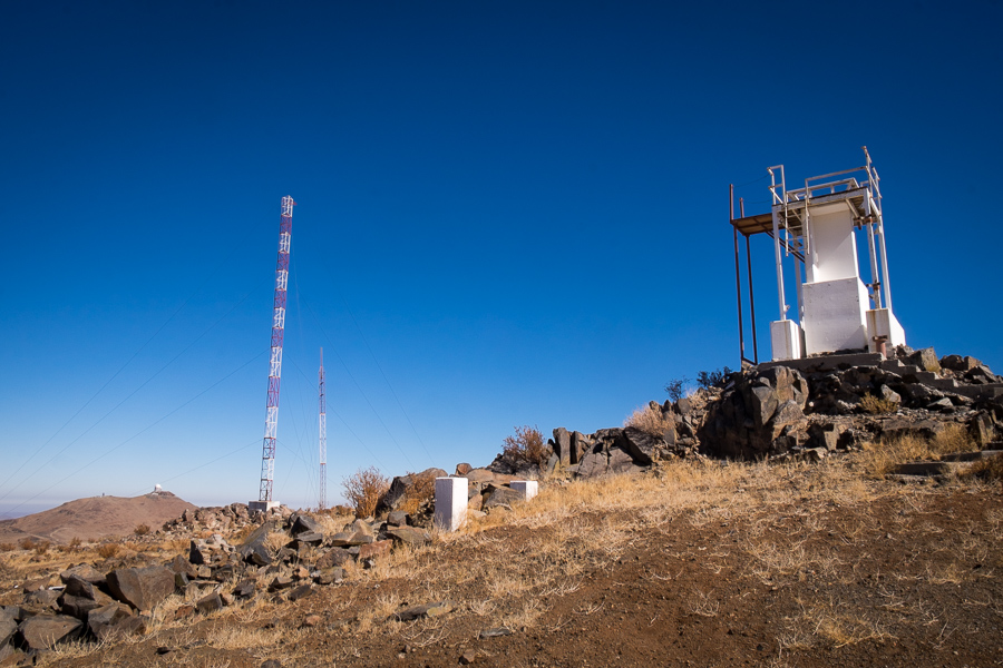 Radio tower and remains of DIMM - Cerro Vizcachas - La Silla Observatory - Chile