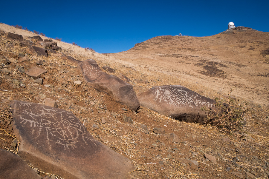 Site 'E' (I think) petroglyphs looking back towards the 3.6m telescope - La Silla Observatory - Chile