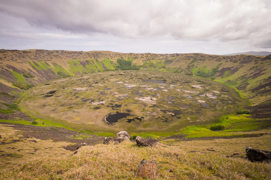 Rano Kau crater and wetlands from the Vai Atare lookout - Easter Island | Isla de Pascua | Rapa Nui