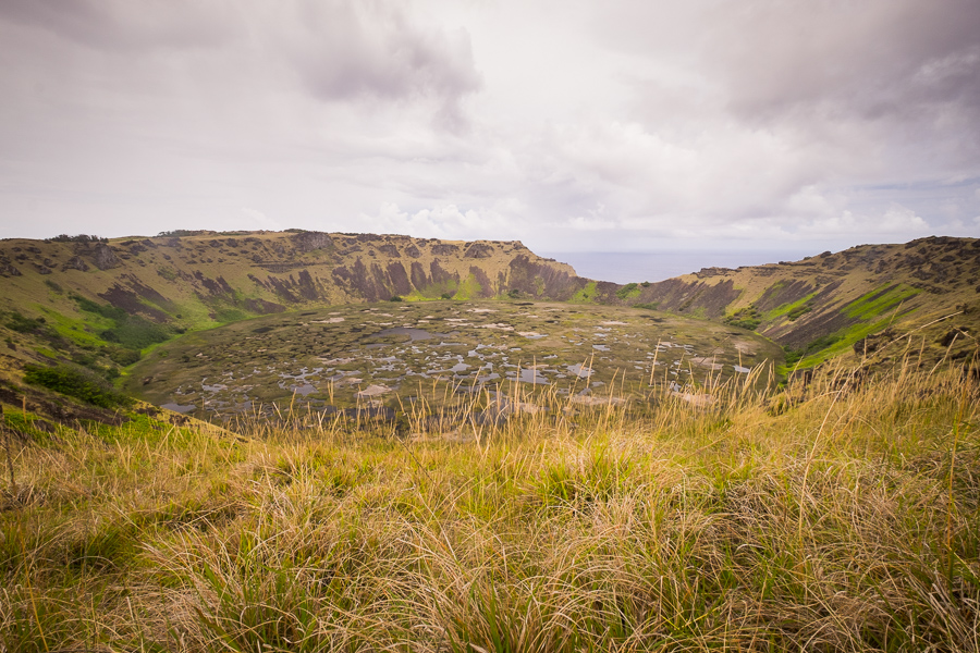 Rano Kau crater and wetlands from the normal lookout - Easter Island | Isla de Pascua | Rapa Nui