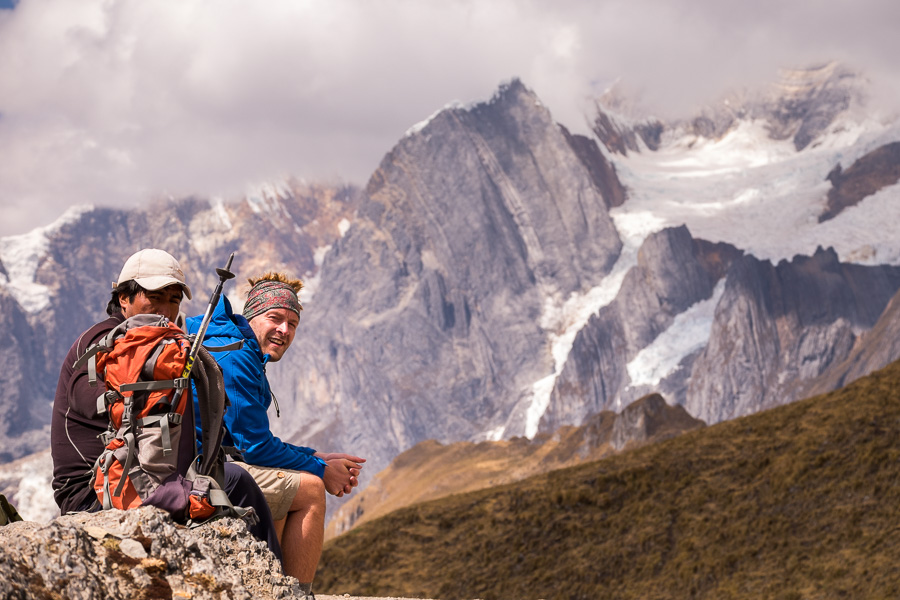 Max and Eliceo at Punta Carhuac pass - Cordillera Huayhuash