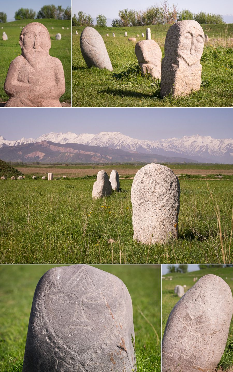 stone sculptures and monuments from the Turkic nomads - Buruna Tower - Kyrgyzstan