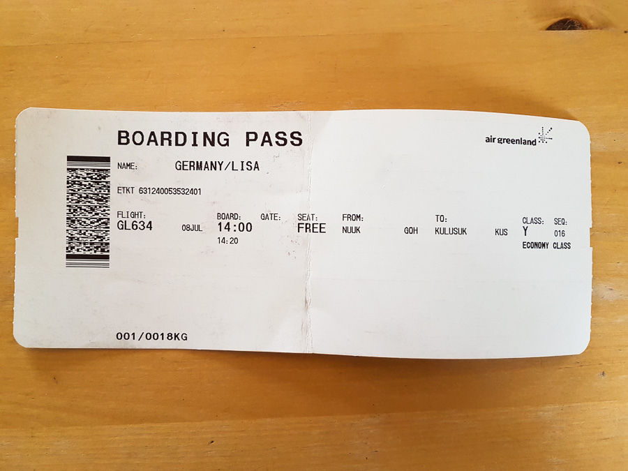 Air Greenland boarding pass showing seat=free