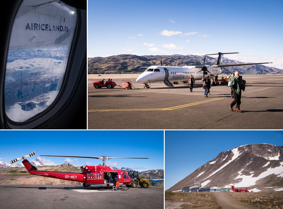 Images of planes and helicopters of Air Iceland Connect and Air Greenland