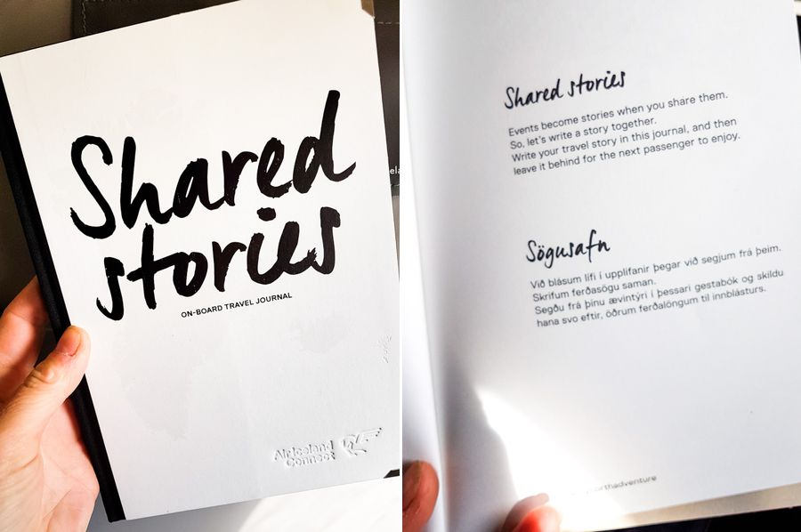 The front cover and explanatory page of the Shared Stories initiative by Air Iceland Connect