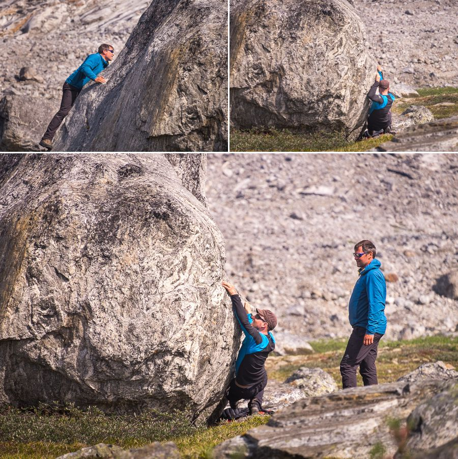 Maxime and Filip bouldering at our lunch stop in the Tasilap Kua Valley