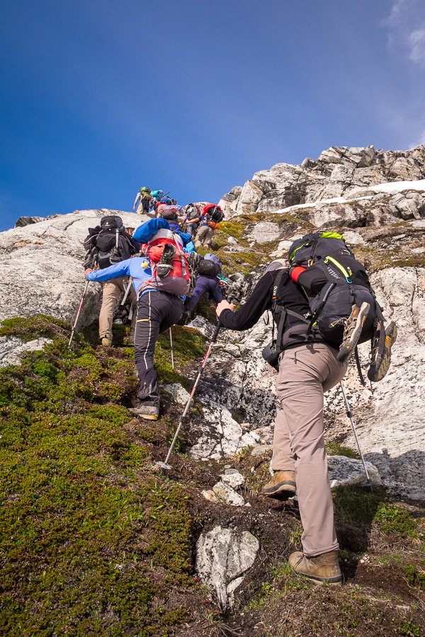 My trekking companions climbing up the very steep slope ahead of me