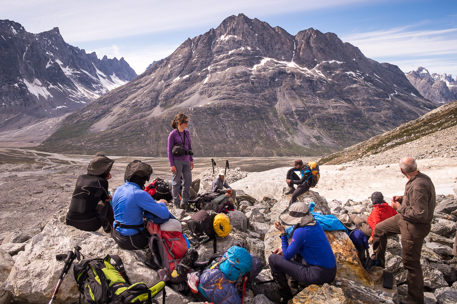 My trekking companions resting about half way up the glacial morraine leading to theTasiilaq Mountain Hut