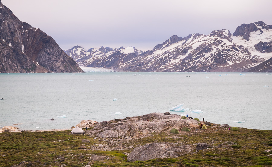 View of our first campsite for the Unplugged Wilderness Trek, taken from up the hill at the Karale Fjord