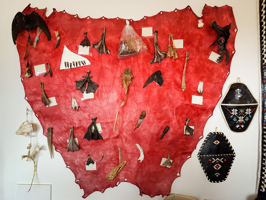 Large red leather hide hanging on the wall with feet, bones, teeth and other animal parts attached to it, in the Kulusuk museum
