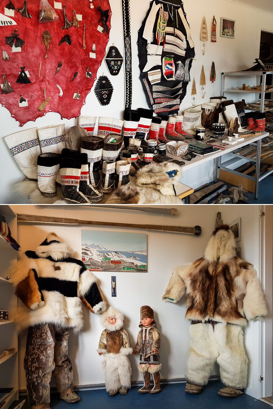 Traditional clothing displayed on mannequins and various types of boots, in the Kulusuk museum