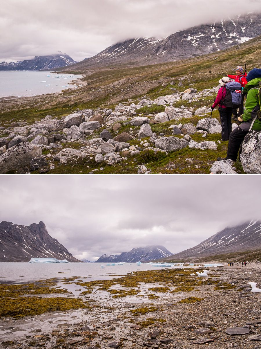 Trekking companions hiking along the shores of the Sermiligaaq Fjord