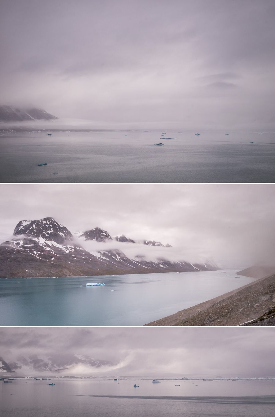 Several vistas of the cloud-shrouded Sermiligaaq fjord