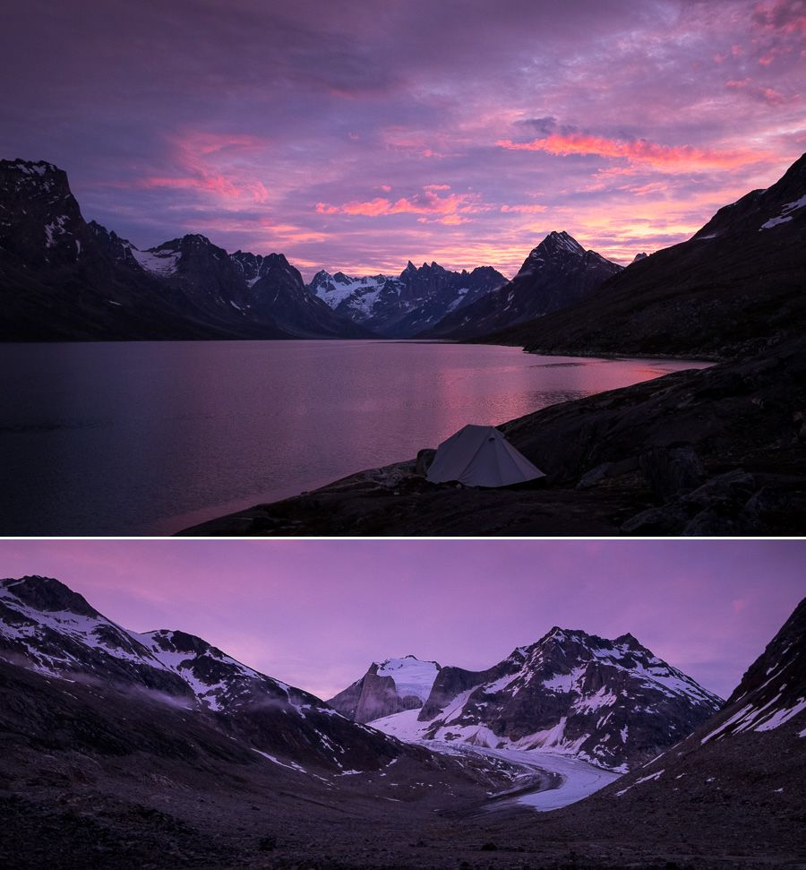 Bright pink and purple skies over our campsite, the Tasiilaq Fjord and nearby glacier at dawn