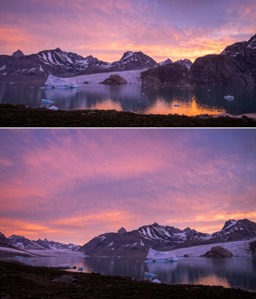 Vibrant pink and purple skies at 2am over the Karale fjord and its glaciers, as seen from our campsite