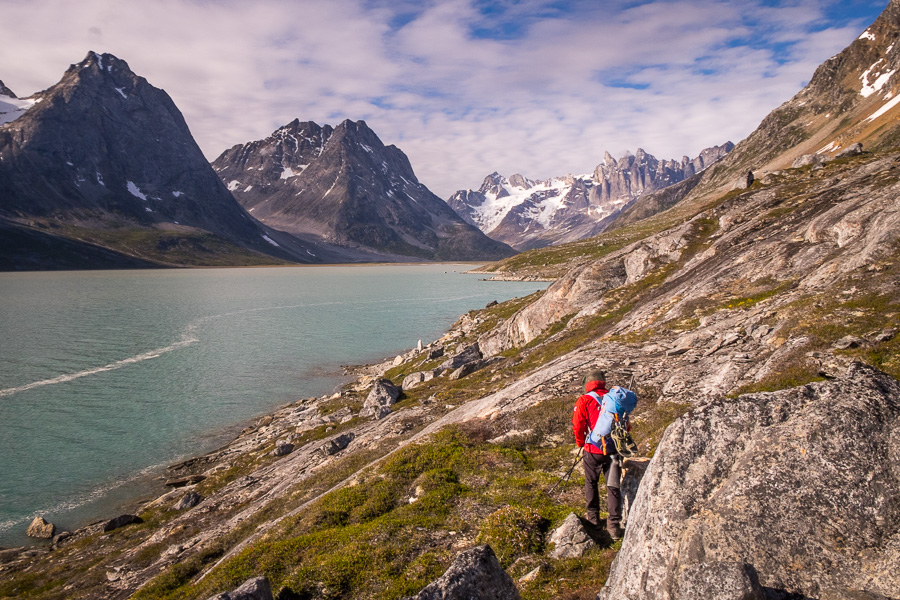 Maxime leading the way down to the Tasiilaq Fjord and our next campsite, with the triplets in the background
