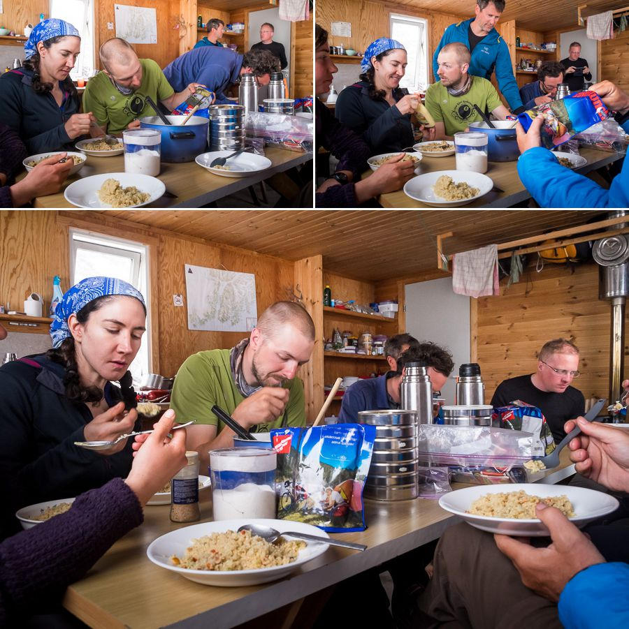 Our group sitting around the table in the Tasiilaq Mountain Hut eating dinner