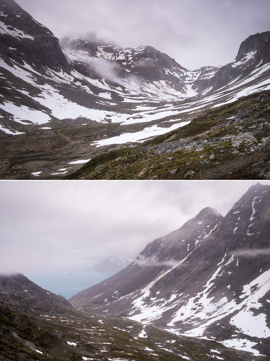View of the river valley leading back to the Sermiligaaq Fjord, all shrouded in clouds