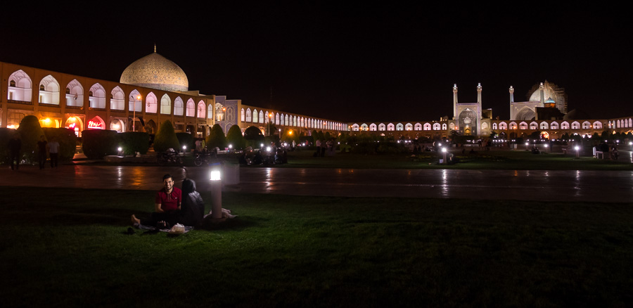 Picnicing in Naqsh-e Jahan Square at night - Esfahan - Iran