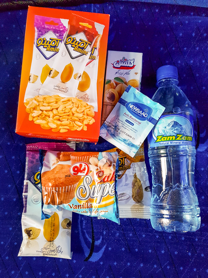 Snacks on the train from Yazd to Tehran - Iran