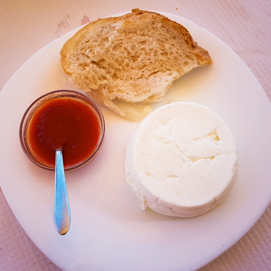 Fresh cheese, bread and spicy sauce from the Azores - Portugal