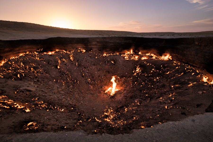 Darvaza crater - natural gas on fire -Turkmenistan