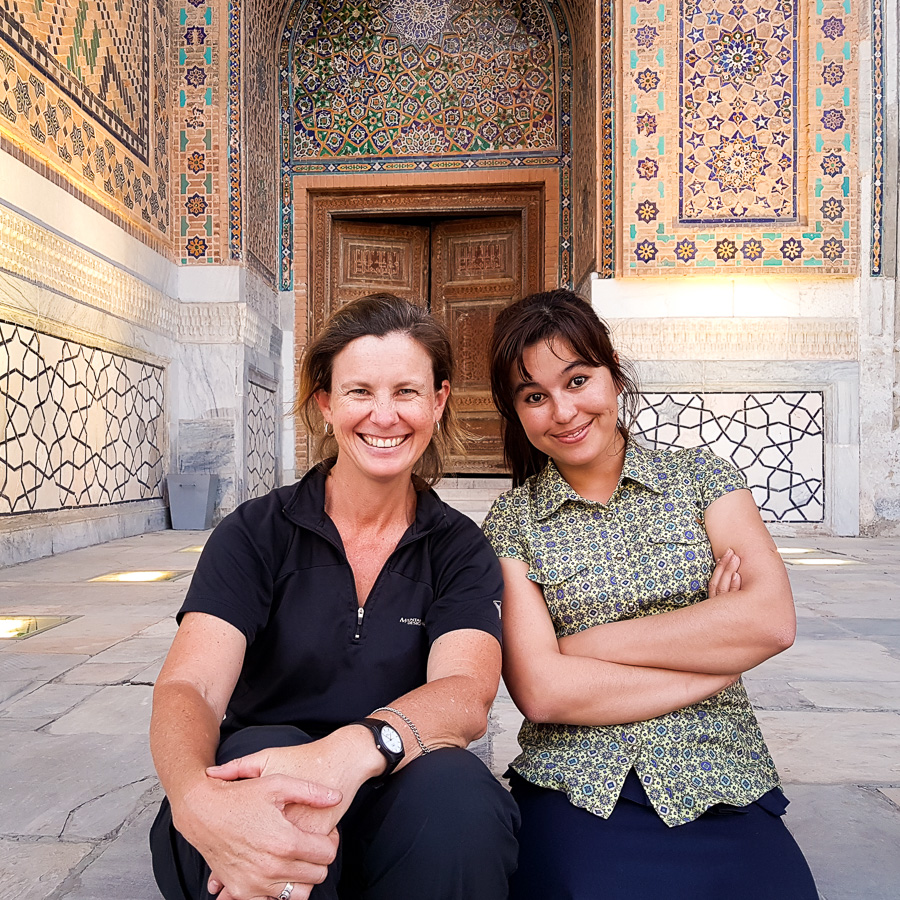 Making friends at the Registan - Samarkand - Uzbekistan