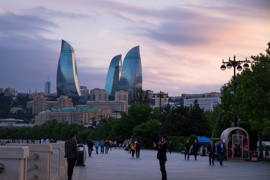 Flame Towers and boardwalk - Baku - Azerbaijan