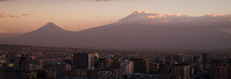 View of Mt Ararat from top of Yerevan Cascade - Yerevan - Armenia