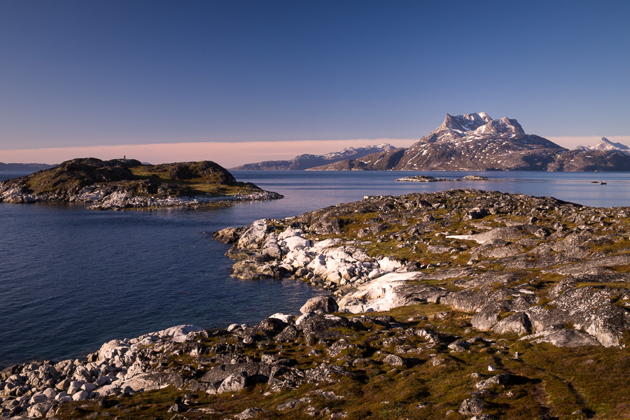 The view across the Nuuk Fjord to an iconic mountain from near Café Inuk in Nuuk, Greenland