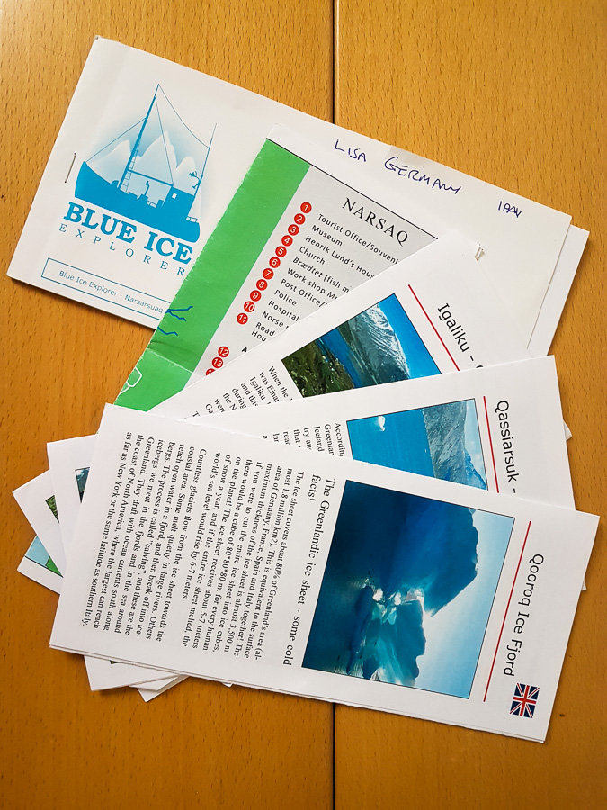 My voucher book and brief information brochures from Blue Ice Explorer