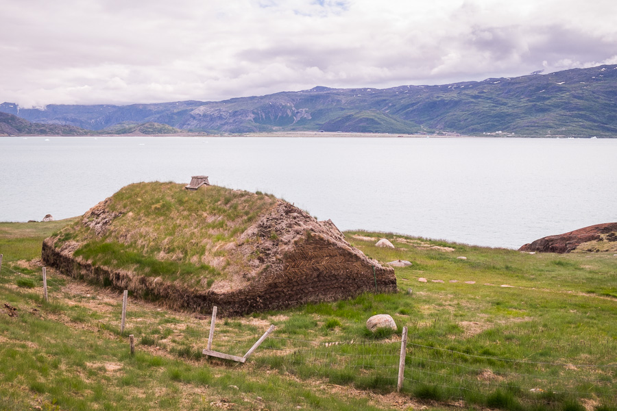 A replica of a Norse Longhouse at Brattahlid near Qassiarsuk in South Greenland