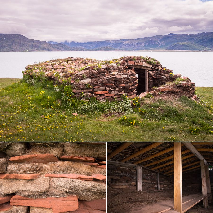 Outside and inside images of a reconstructed Norse turf house in Brattahlid near Qassiarsuk, South Greenland