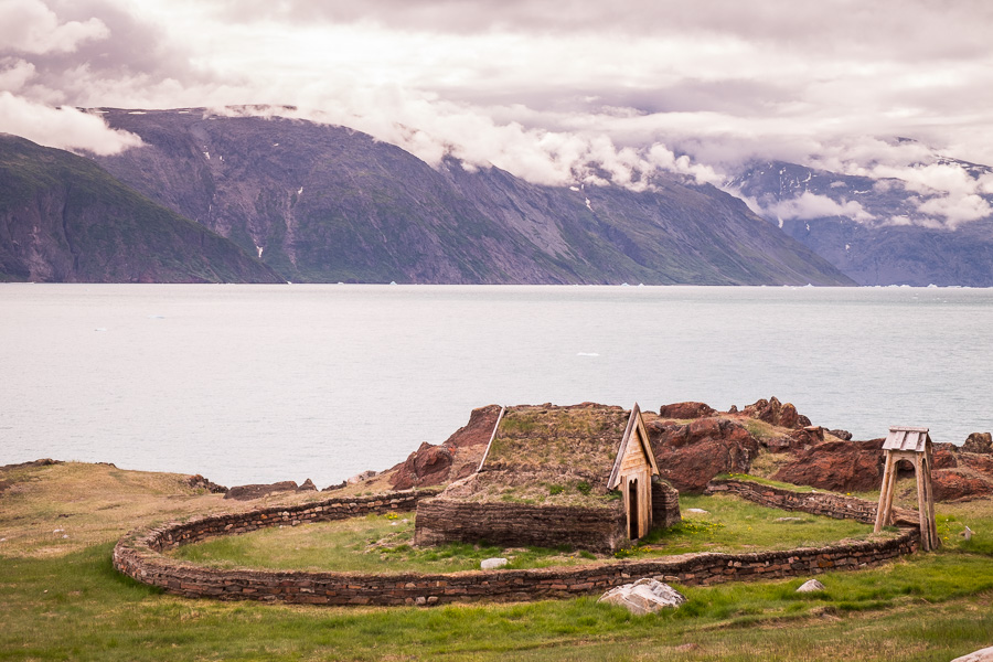 View of the replica of Tjodhilde's Church at Brattahlid, near Qassiarsuk, South Greenland