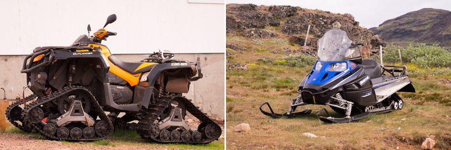 Images of modified quad-runners and skiddoos. Typical farm machinery in South Greenland