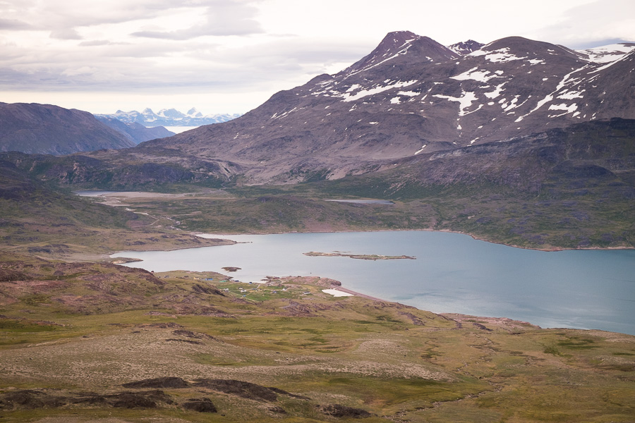 The settlement of Igaliku as seen from the pass heading down from Nuuluk on the Waterfall Hike in South Greenland