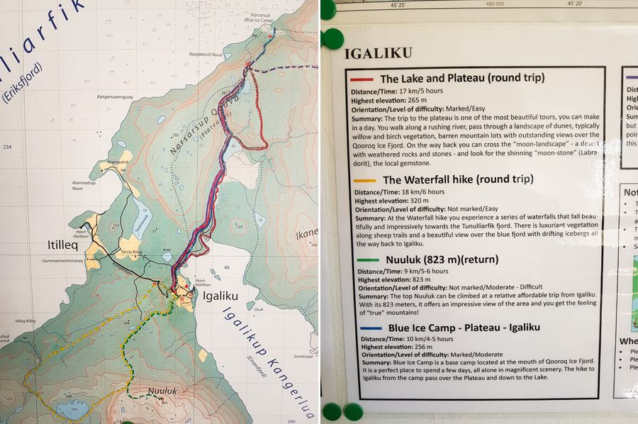 Map and descriptions of each of the hikes out of Igaliku, South Greenland