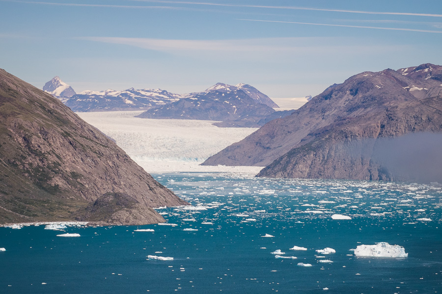 The Qooroq Glacier as seen from the viewpoint on the Lakes and Plateau Hike near Igaliku in South Greenland