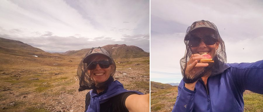Me with my head net on, protecting me from the flies on Waterfall Hike near Igaliku in South Greenland