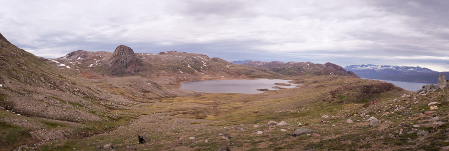 View of Lake 380 after hiking up to the Nuuluk pass near Igaliku in South Greenland