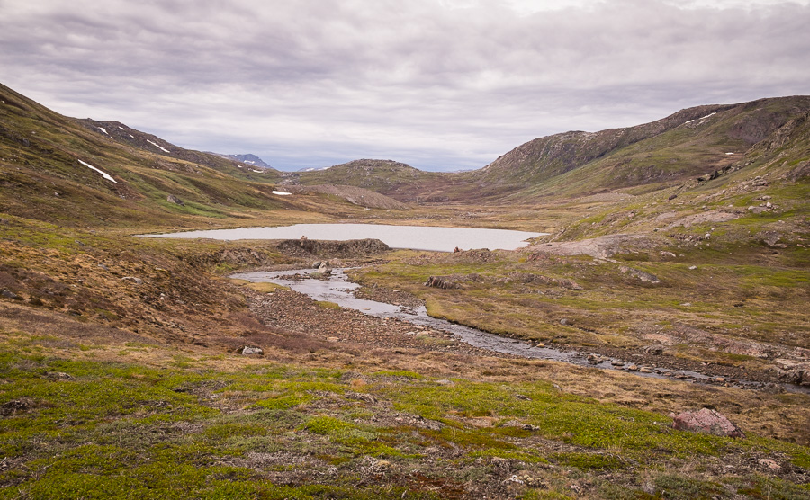 The lake where the Waterfall Hike turns towards the fjord on its way back to Igaliku in South Greenland