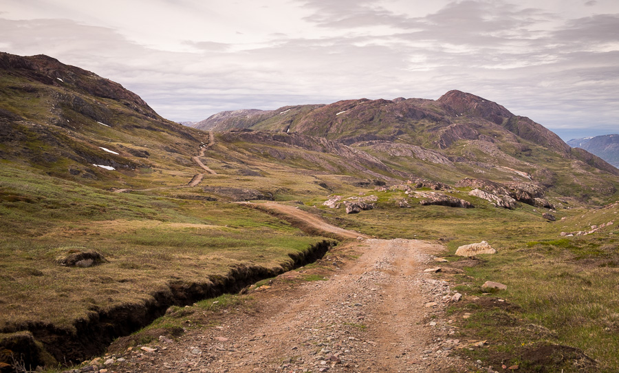 The dirt farm road that the Waterfall Hike near Igaliku in South Greenland follows initially