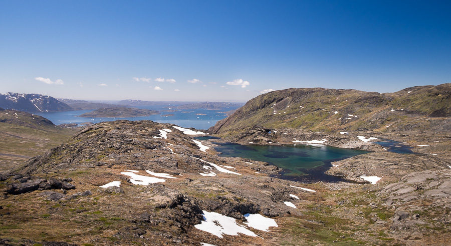 View of Narsaq Bay from top of Kvanefjeld in South Greenland
