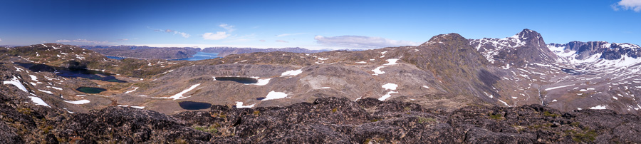 Panoramic view from the summit of Kvanefjeld near Narsaq in South Greenland