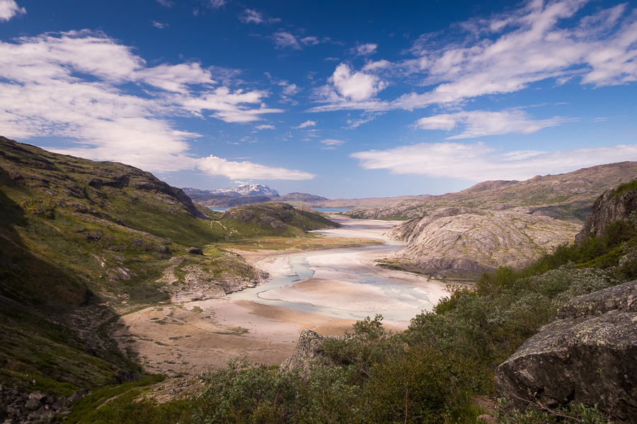 High view of the river leading back towards the fjord, taken about 2/3 of way up to the viewpoint on the Narsarsuaq Glacier hike - South Greenland