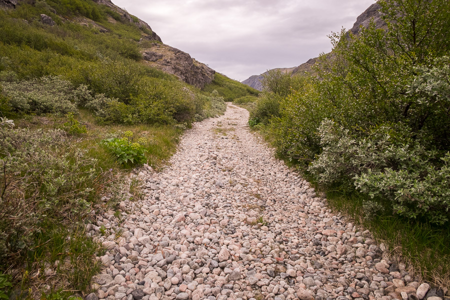 Road made from pebbles leading off into the distance on the Narsarsuaq Glacier hike in South Greenland